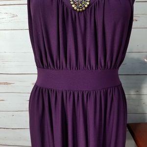 Haani Dresses - Haani Purple Sleeveless Embellished Stretch Dress